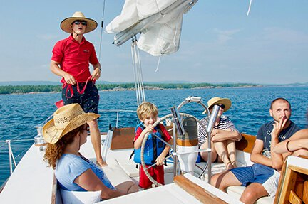 A family out boating on a sail boat